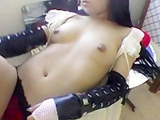 Naked Asian Babe Lipstick Tease - RealAsianExposed