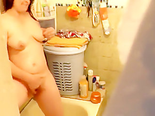 Teenager son spies on step mom in shower. mother m
